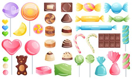 Set of sweets on white background - hard candy, chocolate and bar, candy cane, lollipop, candy on stick. Tasty delicious. Vector illustration.