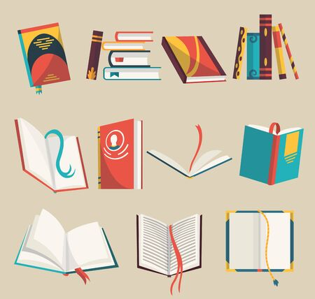 Colorful books icons set, vector illustration. Learn and study. Collection with opened and closed books. Education and knowledge. Reading, learn and receive education through books. 向量圖像