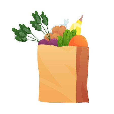 Fresh Food in a paper bag - vector illustration in flat style. Different food and beverage products, grocery shopping. Fruits, vegetables, ham, cheese, bread, milk.