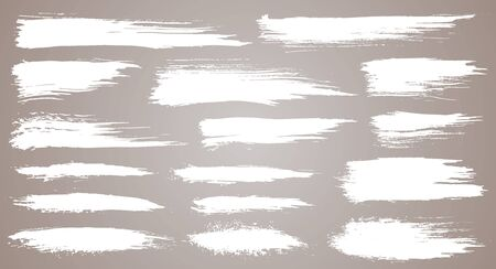 Vector set of grunge artistic brush strokes, brushes. Creative design elements. Grunge watercolor wide brush strokes. White collection isolated on white background