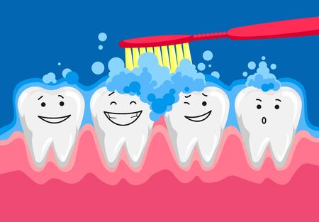 Cute happy smiling tooth with toothbrush and toothpaste. Brushing clean teeth. Dental kids care. Vector modern flat style cartoon character illustration