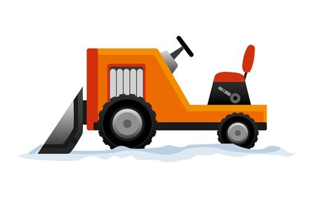 Heavy Equipment cleans the road from the snow. Road works. Snowplow equipment isolated on white background. Excavator bulldozer snowblower transportation