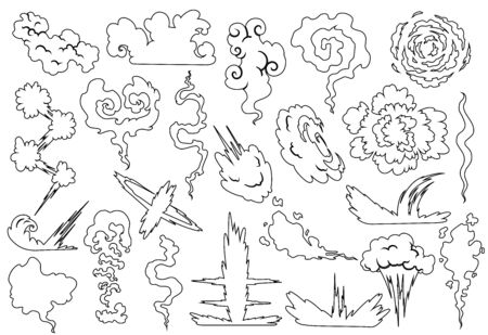 Explosion with smoke cloud. Fog flat isolated clipart for advertising posters, effects and design. Cartoon white smoke. Vector illustration. Sketch style 向量圖像