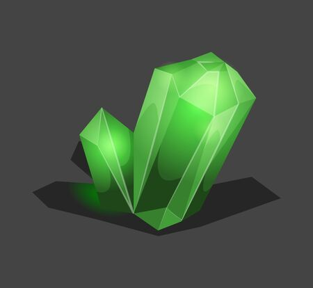 Crystalline stone or gem and precious gemstone for jewellery. Simple crystal symbol with reflection. Cartoon icon as decoration for games. Isolated Vector. Green. Ilustração