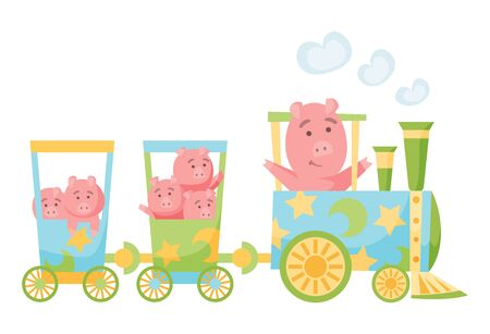 Cartoon set with different animals on trains. Pigs. Flat vector elements for postcard, book or print Stock Illustratie