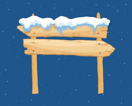 Cartoon wooden winter sign with snow cap vector illustration. Snowy sign board. Wood directional arrow, snow covered banner 일러스트