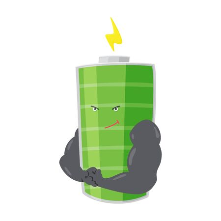 Strong battery man standing and shows his muscles. Charging indication. Full charged green battery. Element of alternative energy. Vector cartoon icon.
