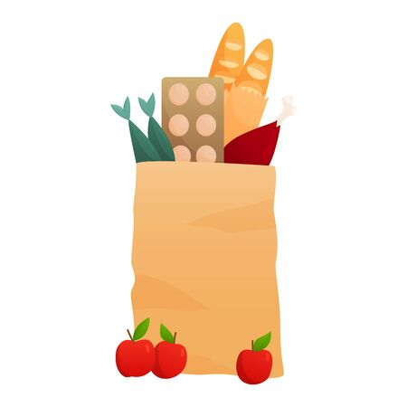 Fresh Food in a paper bag - vector illustration in flat style. Different food and beverage products, grocery shopping. Fruits, vegetables, ham, cheese, bread, milk