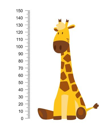 Sitting Cheerful funny giraffe with long neck. Height meter or meter wall or wall sticker from 0 to 150 centimeters to measure growth. Childrens vector illustration Vectores