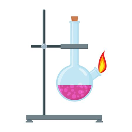 Chemical Experiment Laboratory Equipment. Glass Flask with fire on test tube holder. Equipment for game and app design. Chemical Research Laboratory Ilustração