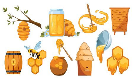 Set illustrations of beekeeping. Wooden jar with honey drops and dipper spoon. Vector bees swarm. Honey drops from bee honeycomb. An Illustration of a beehive suspended from a tree. Honey collection