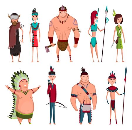 Native American Tribe Members In Traditional Indian Clothing With Weapons And Other Cultural Objects Set Of Cartoon Characters. Vector illustration