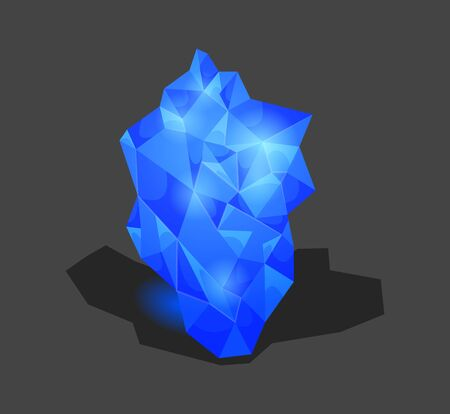 Crystalline stone or gem and precious gemstone for jewellery. Simple crystal symbol with reflection. Cartoon icon as decoration for games. Isolated Vector. Blue.
