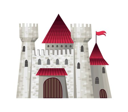 Cute fairy tale castle. Vector illustration with simple gradients. The facades of the fortresses. Vector illustration Stock Illustratie
