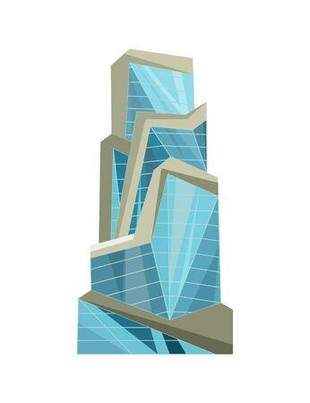 Skyscraper building. Modern building flat office city apartment, house residential block, exterior business town cartoon vector. Downtown futuristic building design
