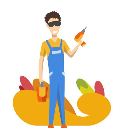 Foreman or worker for building construction. Vector isolated character. Man wearing uniform and using screwdriver for her job.
