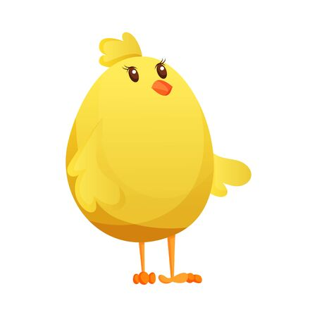 Cute little cartoon chick waiting something isolated on a white background. Funny yellow chicken. Vector illustration of little chicken for children Иллюстрация