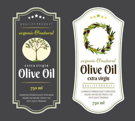 Set of flat labels and badges of olive oil. Vector illustrations for olive oil labels, packaging design, natural products, restaurant. Olive oil labels. Hand drawn templates for olive oil packaging