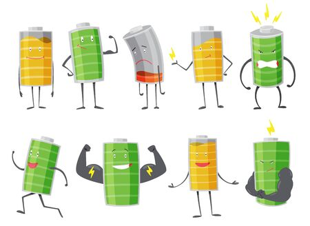 Set of Battery man standing, smile, sad or running. Full charged green battery. Low yellow and red indication. Element of alternative energy. Vector cartoon icon.