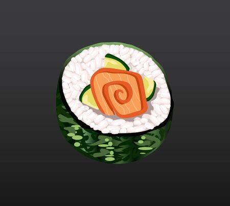 3D Sushi roll traditional seaweed fresh raw food. Japanese seafood sushi roll. Classical asian food. Sushi roll with salmon ris and nori