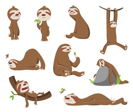 Set of Cute baby sloth. Adorable cartoon animals. Funny cartoon sloths in different poses. Cute lazy character vector illustration