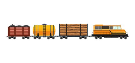 Freight train cargo cars with Container and box freight train. Rolling stock transport illustration set. Logistics heavy railway transport design elements. Flat style vector illustration