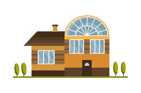Modern country home for booking and living. House exterior vector illustration front view with roof. Home facade with door and windows. Modern town house cottage. Real estate building icon