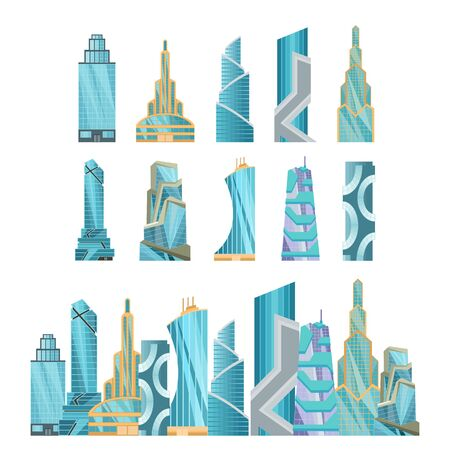 Skyscraper buildings. Modern building flat office city apartment, house residential block, exterior business town cartoon vector. Collection of downtown futuristic buildings design