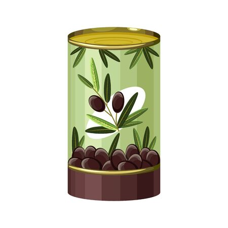 Cartoon of black olives tin can vector icon for web design. Canned Black olives in metallic can. Vector concept of canned food. Isolated Tinned goods for advertising placard or banner Иллюстрация
