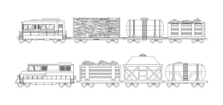Freight train cargo cars with Container and box freight train. Rolling stock transport illustration set. Logistics heavy railway transport design elements. Sketch coloring style vector illustration. Ilustración de vector