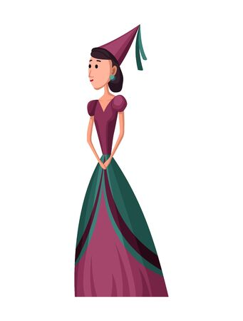 Isolated medieval princess character with royal clothes on white background. Fairy tale. Fantastic kingdom character. Monarch vector cute clip art.