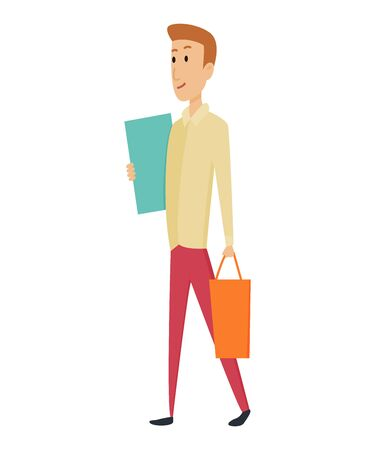 Shopping Man character with paper bags in his hands. Smile with pleasure of purchase perfect goods. Good for sales and discounts. Vector concepts. Flat design.