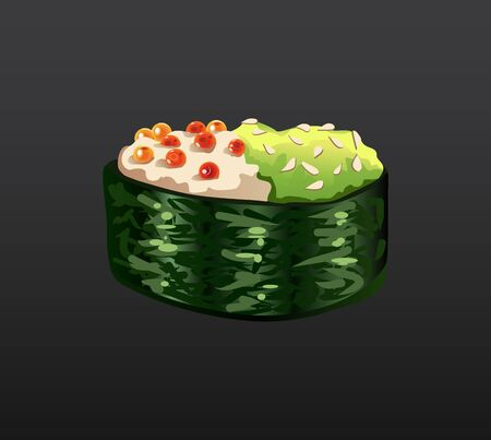 3D Sushi roll traditional seaweed fresh raw food. Japanese seafood sushi roll. Classical asian food. Sushi roll with salmon caviar ris and nori