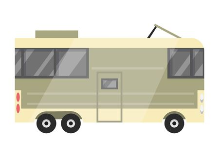 Flat vector classic camper trailer. Recreational vehicle. Home on wheels. Comfort Caravan van for RV Family trip to nature. Vector illustration for web design or print