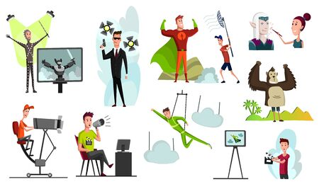 Movie making concept with director and actors. Film set cameraman and sound engineer lighting isolated vector illustration. A vector illustration of movie production scene