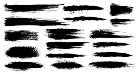 Vector set of grunge artistic brush strokes, brushes. Creative design elements. Grunge watercolor wide brush strokes. Black collection isolated on white background