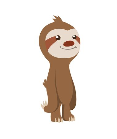 Cute baby sloth standing. Vector funny sloth illustration for summer design. Adorable cartoon animal. Funny cartoon sloth with full belly. Cute lazy character vector illustration