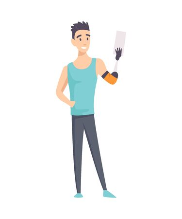 Young handicapped person with phone. Man prosthesis hand, sportsman with amputation, disability person prosthetic. Vector illustration