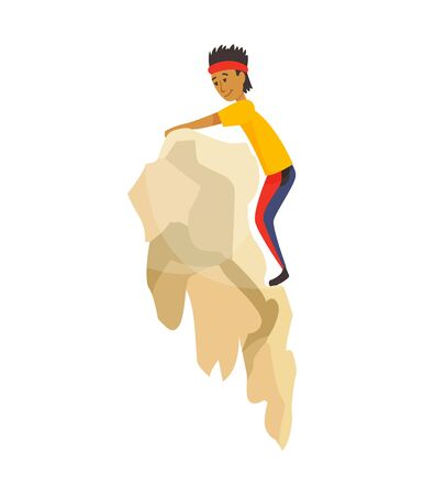Boy climbing on a rock mountain without equipment. Extreme outdoor sports. Climbing the mountains. Vector illustration.