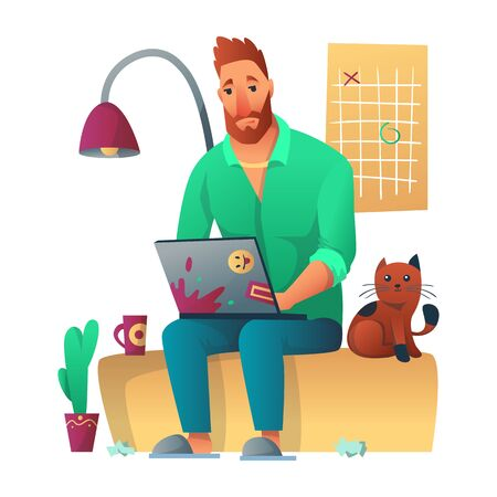 Tired freelance worker working with laptop seatung at sofa in home. Next to him sits cat, graphic on the wall, cactus, lamp and a paper debris. Freelancer morning planning, routine vector concept.