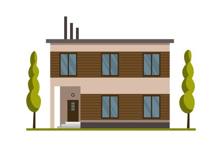 Modern country home for booking and living. House exterior vector illustration front view with flat roof. Home facade with door and windows. Modern town house cottage. Real estate building icon