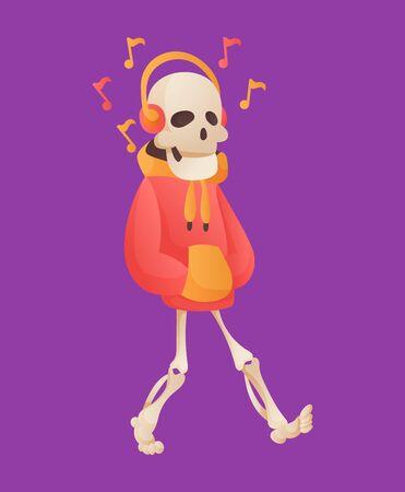 Funny cartoon skeleton listened music in headphone. Vector bony character. Human bones illustration skeletal. Dead man on color background Vector Illustration