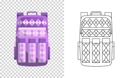 Colorful backpack of pupil. Kids school bag. Extravagant student satchel. Education and study, school backpack icon. Sketch and color style vector illustration