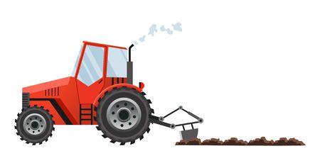 Le tracteur de ferme rouge cultive la terre. Machines agricoles lourdes pour le transport des travaux sur le terrain pour la ferme dans un style plat. Icône de tracteur de ferme. Style plat isolé, illustration vectorielle