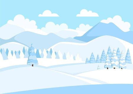 Beautiful winter mountain landscape with blue sky and white clouds. Panorama of mountain ridges with spruce or pine forest in the foreground. Coniferous forest. Vector illustration. 向量圖像