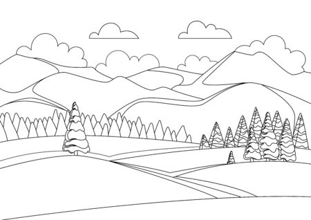 Sketch of beautiful winter mountain landscape with sky and clouds. Panorama of mountain ridges with spruce or pine forest in the foreground. Coniferous forest. Vector illustration. 向量圖像