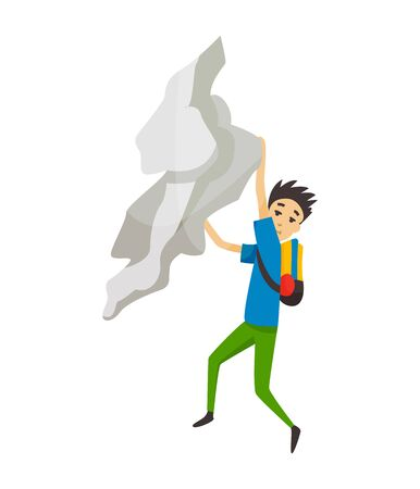 Boy with bag climbing on a rock mountain without equipment. Extreme outdoor sports. Climbing the mountains. Vector illustration.