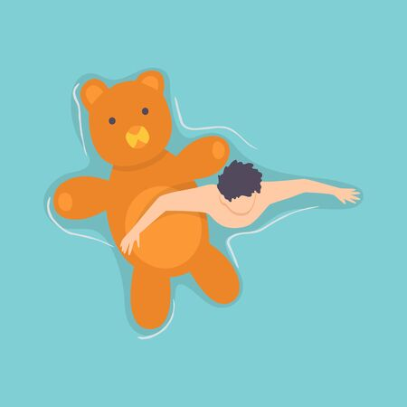 Top view persone floating on air mattress in swimming pool. Men relaxing and sunbathing on inflatable bear shape. Vector Illustration.  イラスト・ベクター素材