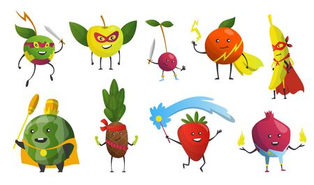 Cartoon superheroes. Fruits in masks and capes. Cute childish cartoon characters in costumes in different poses. Funny cartoon characters. Concept of healthy diet. Vector illustration. Illustration