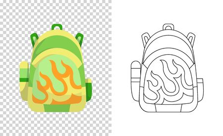 Colorful backpack of pupil. Kids school bag. Extravagant student satchel. Education and study, school backpack icon. Sketch and color style vector illustration. Ilustração